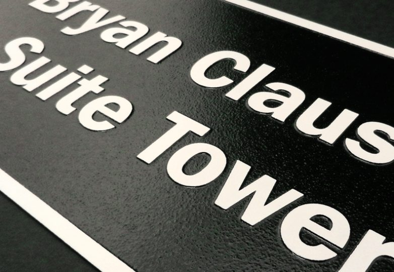 Architectural signage for Bryan Clauson Tower