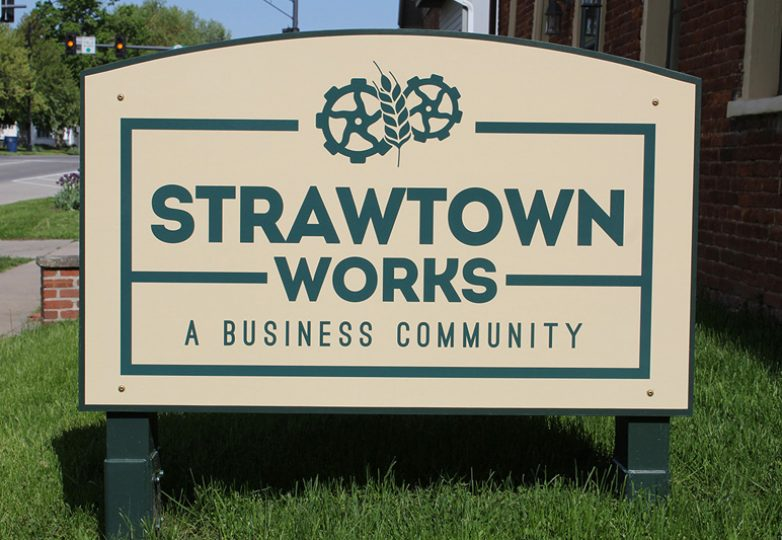 Freestanding storefron signage for Strawtown Works