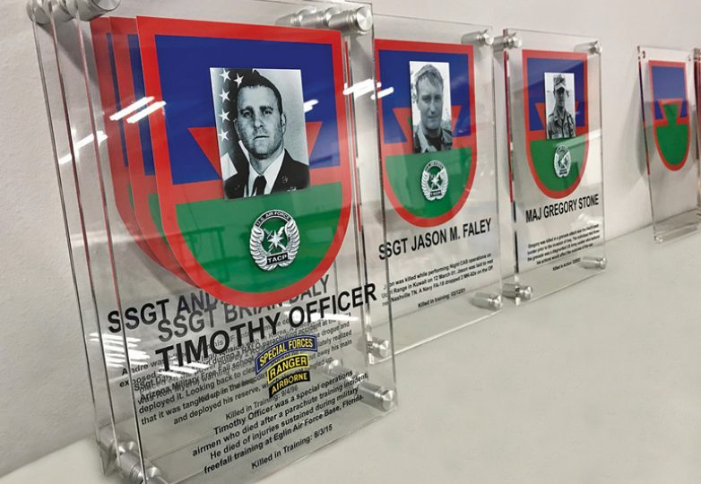UV-printed plaques for Pope Army Airfield