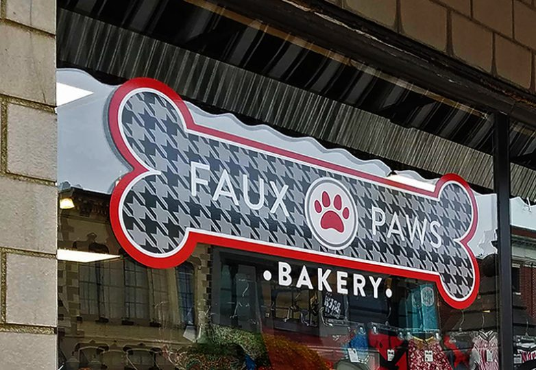 Vinyl window decal for Faux Paws Bakery